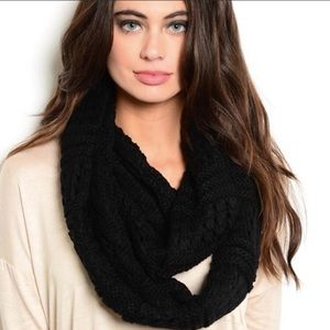 Accessories - Black Cable Knit infinity Scarf